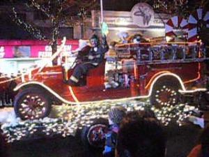 santa old firetruck