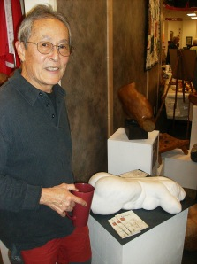 Pius at the Merritt Library in October 2013, during the launch of his book, a retrospective of his body of sculpture work.