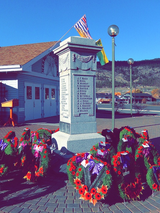 The Merritt Cenotaph, Tuesday, once the crowds cleared after the laying of the wreaths.