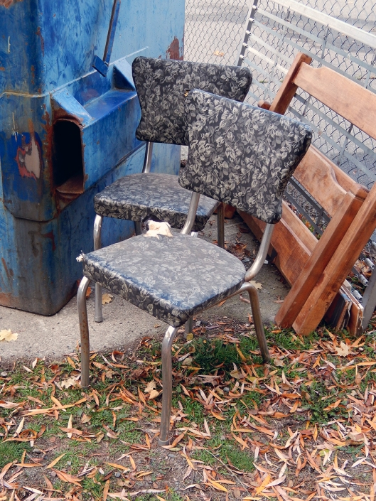 Happily, someone scored these vintage kitchen chairs before the garbage truck got there.