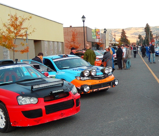 Car display just prior to the ceremonial start from Granite Ave., during last weekend's Pacific Forest Rally.