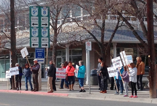 Friends of the Nicola Valley protest outside City Hall on Wednesday afternoon.