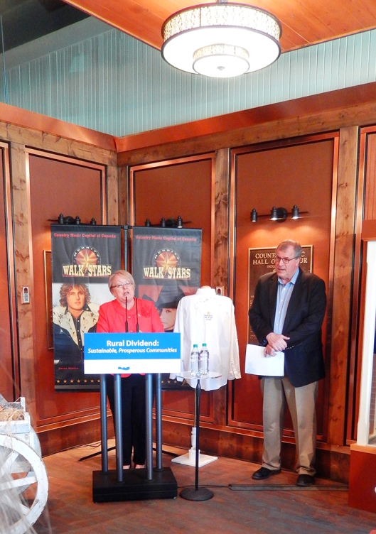 Fraser-Nicola MLA Jackie Tegart & Min. of Forests Steve Thomson drew a fair crowd at the Canadian Country Music Hall of Fame yesterday, for an important rural funding announcement.