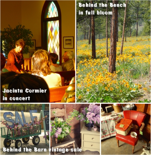 Never a lack of things to do on a Saturday or Sunday. Jacinta Cormier at Trinity United Church, spectacular arrowleaf balsamroot above the Bench, and a pop-up vintage shop.