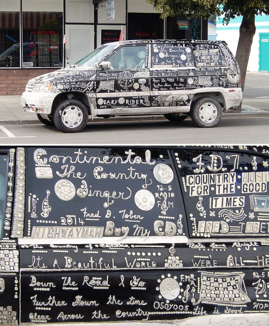 Spirit of Country Music. Fred Tober & his hand-crafted ode-to-country vehicle have been seen in town a few times this summer. That is truly living the life!