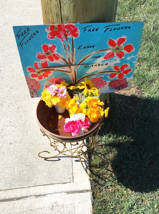 Visitors along Garcia are invited to stop & smell the roses! Spreading a litttle flower joy.