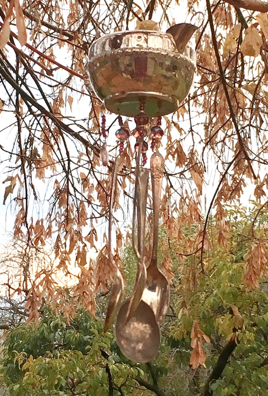 Windchimes glowed with Saturday's early evening golden light.