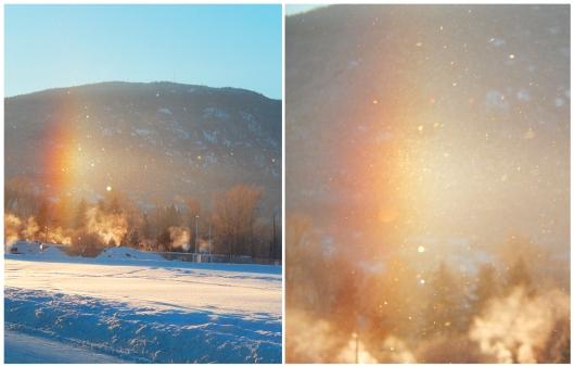 Mini crystal rainbow when the sun hit air crystals Wednesday morning, -31°C.