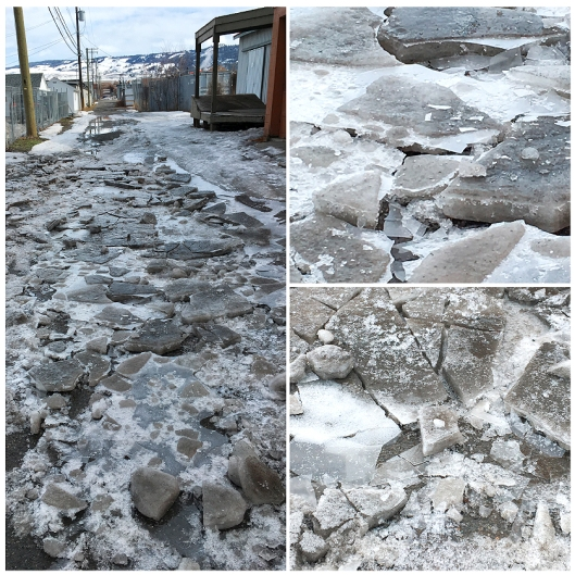 The alley behind Crystal Restaurant looked like spring break-up up the Yukon River, on Saturday!